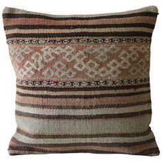Handmade Turkish Kilim Pillow Cover ($59) ❤ liked on Polyvore featuring home, home decor, throw pillows, pillows, colored throw pillows, handmade throw pillows, textured throw pillows, kilim throw pillows and handcrafted home decor