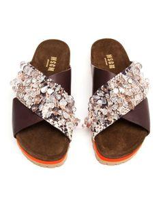 msgm : embellished pool slide sandals