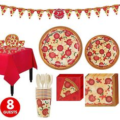 Shop for Pizza Party Supplies! Find pizza party decorations, pizza-themed tableware, and more. Pizza Party Themes, Kids Pizza Party, Pizza Party Birthday, 2nd Birthday, Yellow Birthday, Birthday Parties, Kids Birthday Themes, Party Packs, Party Kit
