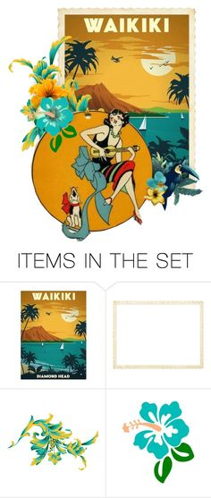 """Aloha, Summer!"" by valeria-meira ❤ liked on Polyvore featuring art, vintage, hawaii, artset, artexpression, vintageposter and travelposter"