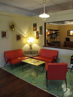 Mid-Century Modern Living Room in Red, Gold, and Turquoise Blue.