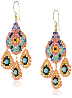 Miguel Ases Gold-Tone and Turquoise Bead Drop Earrings. Gold-tone earrings featuring colorful chandeliers crafted from small beads and turquoise stones. Fishhook backing. Items that are handmade and use natural stones may vary in size, shape, and color. Made in United States.