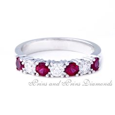 There are 4 = 0.76ct round cut rubies and 3 = 0.455ct GH/VS – SI round brilliant cut diamonds claw set 18k white gold