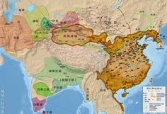 The Han empire (dark orange) under administrative units control during Emperor Wu's reign (reigned from 141–87 BC), and sphere of influence (light orange).