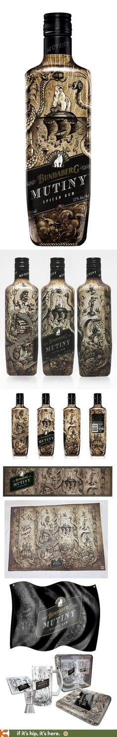 Australia's Bundaberg Mutiny Spiced Rum has a wonderfully illustrated #bottle and collateral pieces PD #design #bottledesign: (Liquor Bottle Sketch)