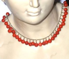 Gold Filled Natural Red Coral Bead Necklace - one day left on 50% off Sale. http://www.BanglesandBeadsOnline.com