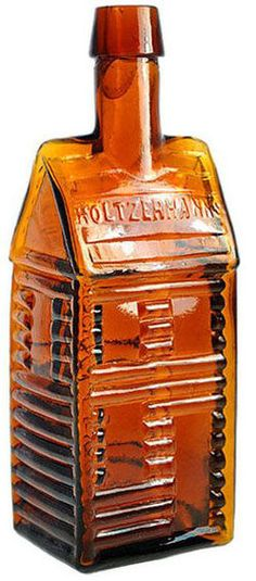 Holtzermanns Patent Stomach Bitters, Cabin, 2 Roof, Amber, 10 inch. A Holtzermann's Patent Stomach Bitters 2 roof log cabin glass bitters bottle