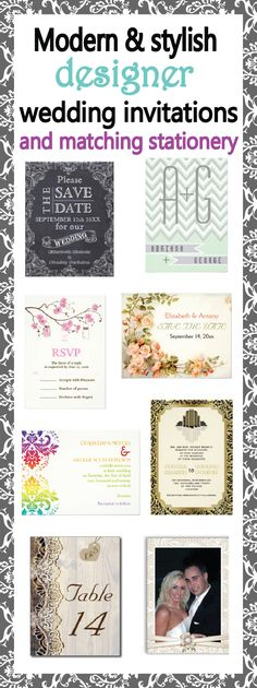 Wedding invitation suites. Designer wedding invitations and matching stationery. Lots and lots of modern and hip as well as classic designs. Designs by Olympia #weddinginvitations, #weddingstationery
