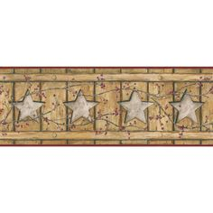 "York Wallcoverings Country Keepsakes Country Cutout Star 15' x 9"" Wood Border Wallpaper Color: Ecru, Gold, Grey, Red, Brown"