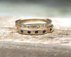 Oro blanco anillo de bodas set 9ct oro por karenjohnsondesign
