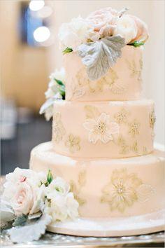 Blush wedding cake with floral decor @weddingchicks