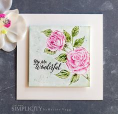 Penny Black Scented Beauty | If you love cards with a vintage look and lovely flowers, then you will love today's creation by Simplicity Sister, Marion Vagg. Marion colored directly onto our stamp, 40-428 Scented Beauty,…