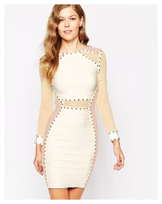 Forever Unique Mercy Bodycon Dress with Sheer Panels - on #sale 55% off @ #Asos.com