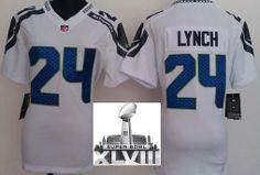 Women Nike Seattle Seahawks 24 Marshawn Lynch White 2014 Super Bowl XLVIII NFL Jerseys