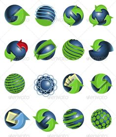Blue balls and green arrows  #GraphicRiver         set of blue balls and green…