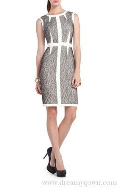 BCBG Rumor Lace Blocked Sheath Short Cocktail Dress