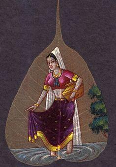 Buy exclusive handmade indian leaf paintings on www.peepleaf.com Herb Embroidery, Embroidery Designs, Dry Leaf Art, Indian Art Paintings, Leaf Paintings, Ganesha Drawing, Indian Folk Art, Celebrity Drawings, Painted Leaves