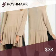 Long sleeve tunic Sand color long sleeve tunic top.  92% rayon/8% spandex (pair with faux leather leggings for an amazing look) Tops Tunics