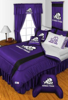 TCU Horned Frogs Sidelines Room Comforter and Sheet Set Size Queen #SportsCoverage