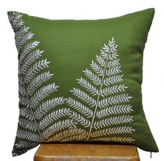 Fern Pillow Cover, Decorative Throw Pillow Cover, Green Linen Off White Fern Embroidery, Pillow Cover 18 x 18, Green Cushion, Couch Pillow. $23.00, via Etsy.