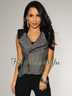 Want this! Black Tweed Faux Leather Accent Zip Vest