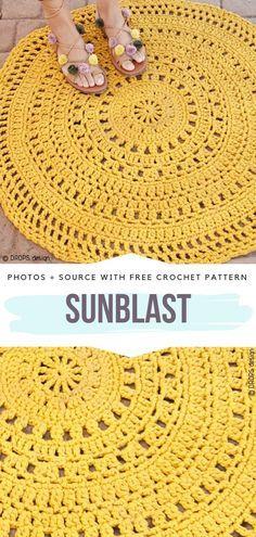 Amazing Mandala Rug Sunblast Free Crochet Pattern # free crochet patterns for home Awesome Mandala Rugs Free Crochet Patterns Diy Tricot Crochet, Crochet Mat, Crochet Carpet, Crochet Crafts, Crochet Projects, Crochet Home Decor, Crochet Decoration, Crochet Ideas, Motif Mandala Crochet