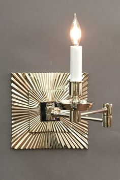 Swing Arm Sunburst Nickel Dimensions H x W x D Options Available * French Bronze, Nickel and Anique Brass Swing Arm Wall Light, Sconces, Wall Lights, Arms, Bronze, French, Lighting, Home Decor, Chandeliers