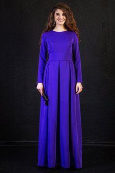 Maxikleider - Lange Maxi lila Kleid mit langen Ärmeln - ein Designerstück von guntina bei DaWanda