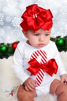 Adorable Christmas Candy Cane Baby Bodysuit by IzzysCouture