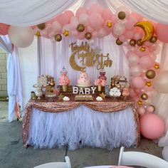 Twinkle twinkle little star baby shower dessert table styled by Girl Baby Shower Decorations, Baby Shower Centerpieces, Dessert Stand, Gold Dessert, Dessert Tables, Tutu Tablecloth, Unique Diaper Cakes, Baby Gender Reveal Party, Star Baby Showers