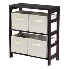 Buy Capri 2-Section Storage Shelf with 4 Foldable Fabric Baskets in Beige from Bed Bath & Beyond