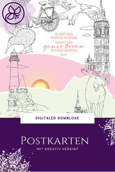Mit Freebie für die Postkartenrückseite und Anleitung. Color Combos, Up, Blog, Poster, Crafts, Postcards, Tutorials, Colour Schemes, Manualidades