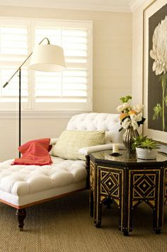 This is a great moment in the corner.  Tufted chaise.