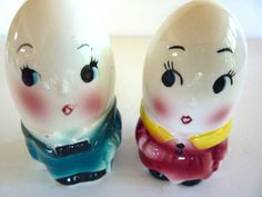 Vintage Humpty Dumpty Egg Couple Salt and Pepper by BonniesVintageAttic on etsy