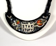 Star Stuff Ceramic Necklace with Braided cord in Black by surly, $48.00