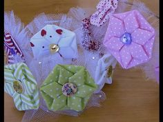 HOW TO MAKE ROLLED RIBBON ROSES- fabric flowers- flor em fitas de cetin Passo a Passo - YouTube