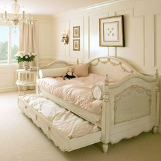 beautiful girls room, this is perfect for my girls who sleep in a trundle anyway cuz they like it!! LOL. ❤❤