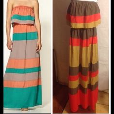 Colorblock strapless maxi. Large Beautiful color lock maxi dress. Strapless wide elastic tube top under the flowy top. Very chic size Large Ark & Co Dresses Maxi