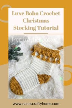 Learn how to crochet the Luxe Boho Christmas Stocking with this complete video tutorial! Perfect stocking for your Christmas holiday decor! Stocking works up quickly in bulky yarn without gaps and holes you would typically find with double crochet stitches. A fun fringe edge adds a lovely boho vibe! #nanascraftyhome #crochet #christmasdecor #homedecor #holidayhome Christmas Crochet Patterns, Holiday Crochet, Easy Crochet Patterns, Crochet Home, Love Crochet, Learn To Crochet, Crochet Designs, Double Crochet, Crochet Stitches