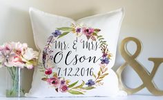 Wedding Gift, Personalized Wedding Gift, Mr and Mrs, Anniversary Gift, Throw Pillow, Gift for Couple, Bridal Shower, Custom Name Gift,