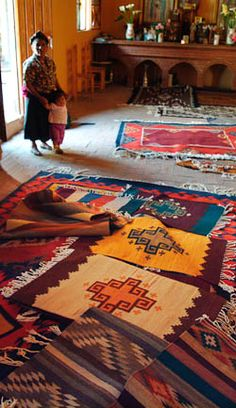 """Teotitlan - """" . . .This is a mega-weaving village of of 5,000 weavers legendary in Mexico for the beautiful tapestry weavings made here.""""//// beautiful these and indian remind me of home"""