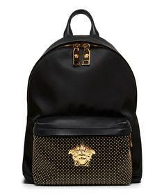 Versace Black Nappa Leather Backpack / Only Me 💋💚💟💖✌✔👌💙💚 xoxo Versace Handbags, Versace Bag, My Bags, Purses And Bags, Fashion Bags, Fashion Backpack, Versace Backpack, Mode Hip Hop, Mini Mochila