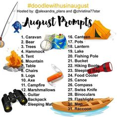 """Super excited to announce our Instagram challenge for the month of August. It's the #doodlewithusinaugust challenge created by me and Christina from @christina77star ! The theme for August's Prompts is ''Camping."""" ⛺️🏕🏞 As we did last month, all the doodles are part of one big comprehensive picture. Imagine each day to be one piece of the puzzle. So, at the end of the month you will have one big doodle picture! :) If you decide to follow this way, you'll have to create a table with 5x6 + 1…"""