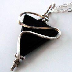 Black Agate #Pendant - Handmade Sterling Silver #Jewelry