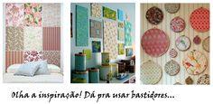 decoracao parede vintage bastidores tecido - Pesquisa Google