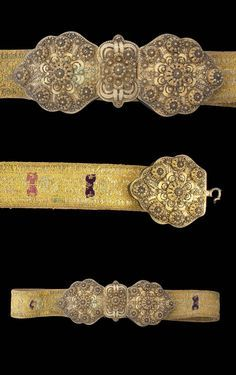 Gilt-silver buckle, with filigree work. The belt embroidered with silk and metal threads. Turkish Jewelry, Ethnic Jewelry, Metal Jewelry, Antique Jewelry, Silver Jewelry, Vintage Silver, Antique Silver, Leila, Silver Belts