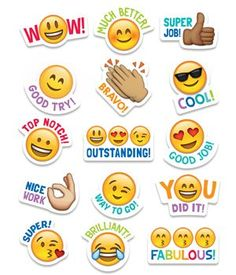 Students will love these Emoji stickers! Sweet and silly emoji faces along with their rewarding phrases will encourage children with social media and digital style. Approximately x 75 stickers per pack, bundle of 12 packs, 900 stickers total Reward Stickers, Teacher Stickers, Emoji Stickers, Star Stickers, Classroom Rules, Classroom Displays, Classroom Themes, Colegio Ideas, Student Rewards