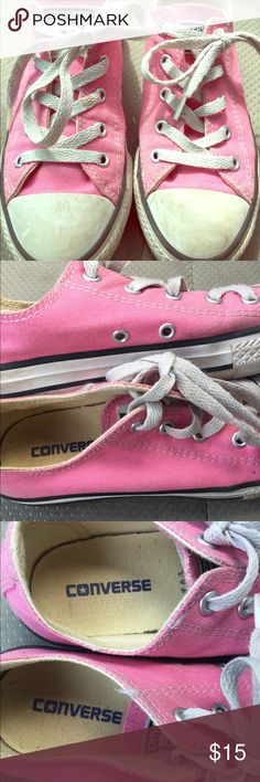 Girls pink Converse These were worn by my daughter a few times. The inside still looks really good but there are some scuffs on the outside but that can most likely be cleaned off and they definitely need new shoelaces. Converse Shoes Sneakers