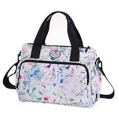Women Lightweight Floral Tote Bag Multi-pocket Handbag Work Travel Shoulder Bag - FrenzyStyle Leather Handbags, Women's Handbags, Leather Bag, Travel Bags, Work Travel, Floral Tote Bags, Work Tote, Side Bags, Casual Bags