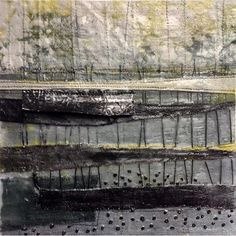 Marshscape Collage Linen, wax, metal, 20 x 20 cms Textile Fiber Art, Textile Artists, Mixed Media Collage, Collage Art, Abstract Landscape, Abstract Art, Creative Textiles, Landscape Illustration, Felt Art